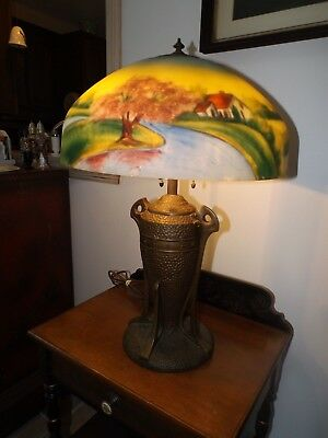 Antique 1920 Art Deco Reverse Painted Glass Table Lamp 3 Hubbell Acorn Sockets