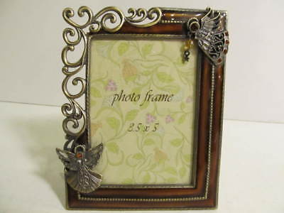 """Pewter & Enamel Tabletop Picture Frame 3.5"""" x 5"""" Angels"""