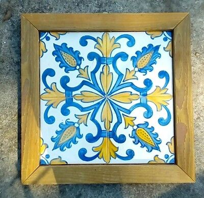 Set Of 4 Mounted Arts & Crafts Style Hand Painted Tiles