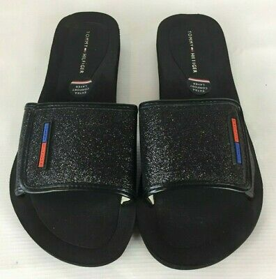 0f6c0bc3ee6b Tommy Hilfiger Womens Flip Flops Black Glitter Sandals Slides Beach Swim 7M