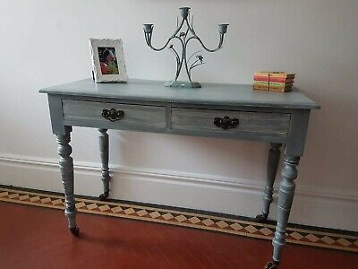 Edwardian antique painted compact 2 drawer writing desk console table side table