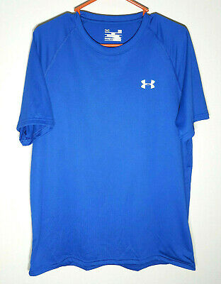 Under Armour Polyester T-Shirt | Royal Blue Heat Gear | Mens Large
