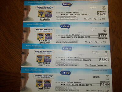 Enfamil SAVE $20 Coupons Checks Baby Infant Formula (4 ) $5 off exp. 6/30/19