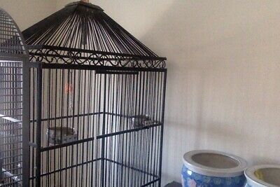 Large Black Vintage Parrot Cage, on wheels, very heavy wrought iron.