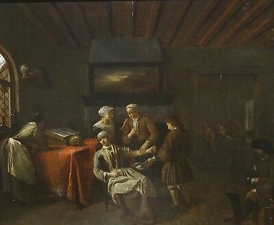Fine 17th Century Dutch Interior Bloodletting Surgeon Antique Oil Painting