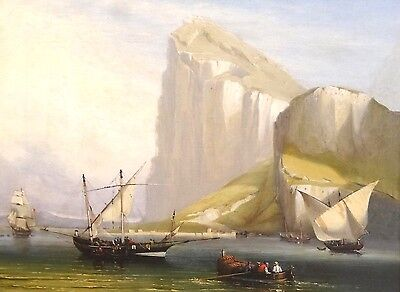 Fine Large 19th Century Rock Of Gibraltar Ships Sailing Antique Oil Painting