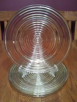 "4 Beautiful Vintage Anchor Hocking Manhattan Clear 10"" Glass Dinner Plates"
