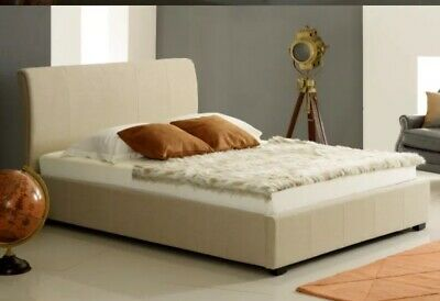 Double Size Upholstered Champagne Beige Suede Ottoman Bed Storage