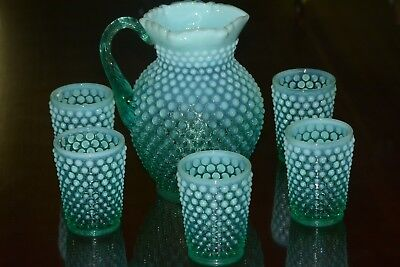 """Fenton Water Pitcher Set 8"""" Jug 6 Tumblers Hobnail Opalescent Teal Turquoise"""