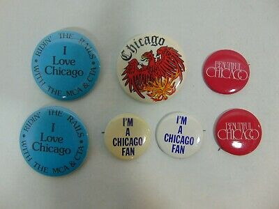 Random Chicago Pin-Back Button Lot of 7