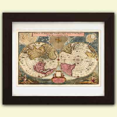World map antique vintage reproduction print size A3 satin luxury paper Map No.2