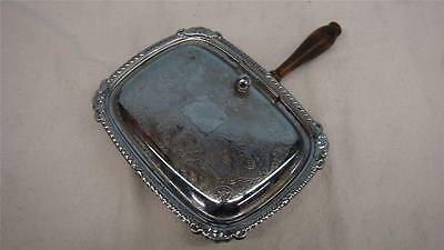 """3 footed silver plated hand butler wooden handle FREE SHIP 8""""x 6""""x 1.5"""""""