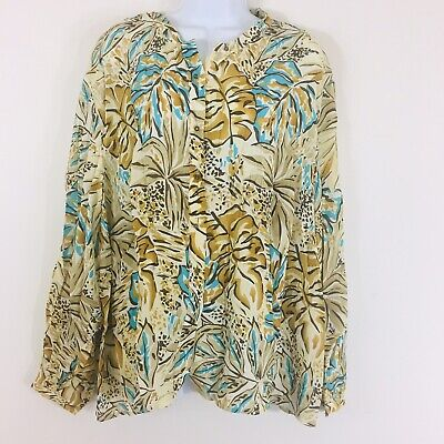 Talbots Womens Blouse Sz 24W Beige Floral Plus Career Silk Casual Top QA28