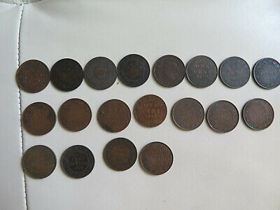 1859 - 1920 CANADA LARGE CENT 1 CENT PENNY VICTORIA Lot of 19 (#96)