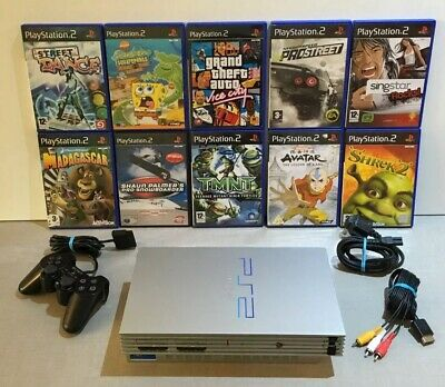 Ps2 Sony PlayStation 2 Silver Console Bundle Official Controller 10 Video Games