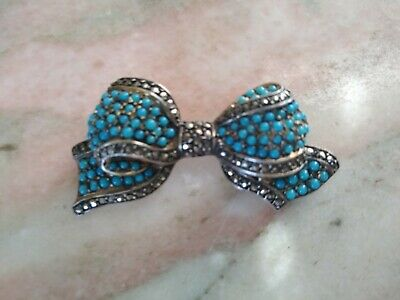 RARE VICTORIAN 19th GERMANY TURQUOISE MARCASITE STERLING  BOW  BROOCH