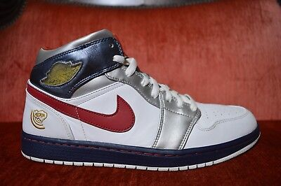 07707cf3 NIKE AIR JORDAN I Retro 1 OLYMPIC WHITE RED NAVY BLUE SILVER 136085 ...