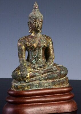 Superb Vearly Chinese Thia Ming Dynasty Gilt Bronze Ruby Jewelled Buddha Figure