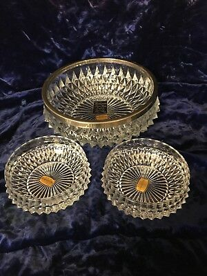 Vintage Westminster Hand Made English Lead Crystal & Silver Plate 3pc Bowl Set