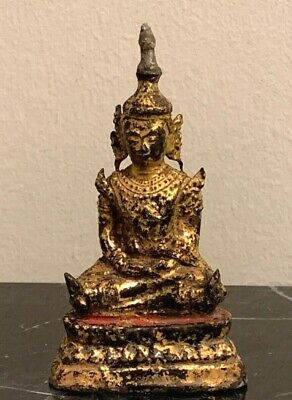 Vintage Thai Gilded Bronze Seated Buddha