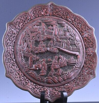 Antique Chinese Signed Qianlong Cinnabar Lacquer Landscape Barbed Rim Plate