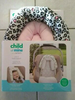 CHILD OF MINE BY CARTERS 2 IN 1 HEAD SUPPORT Pink Leopard  2 pieces