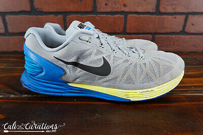 competitive price 58b21 82305 NIKE LUNARGLIDE 6 Mens Size 11 Running Shoes Gray/Blue/Yellow