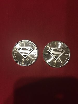 TWO 2016 Canadian Superman S-Shield Man Of Steel 1 oz .9999 Silver Coin