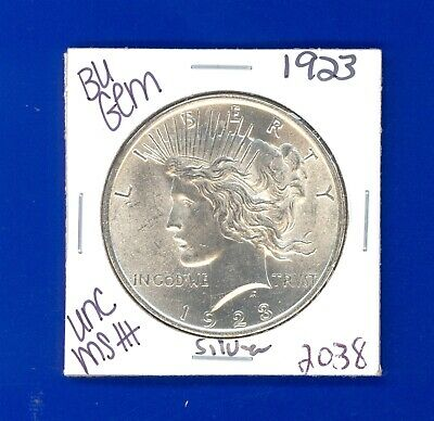 1923 P Bu Gem Peace Silver Dollar Unc Ms+ Genuine U.s. Mint Rare Coin 2038