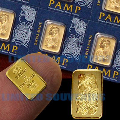 1 Gram 999.9 Pure Solid Fine Gold Bullion PAMP Bar Assay Certificate 1g