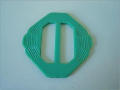Vintage Aqua Celluloid or Other Plastic Slide Buckle 2 1/8 x 2 1/4 In.