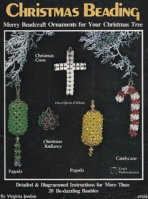 Christmas Beading, Plaid Craft Beading Pattern Booklet 7318 Over 20 Ornaments