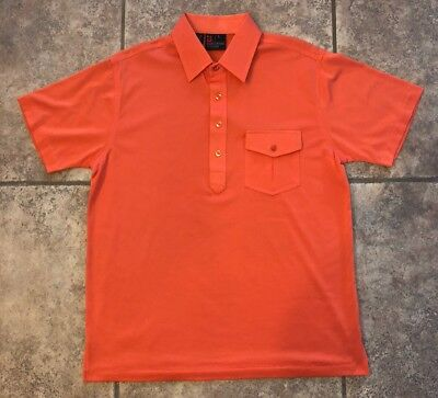 VTG ROBERT BRUCE Polo GOLF SHIRT Cotton Where It Counts SIZE LARGE Orange