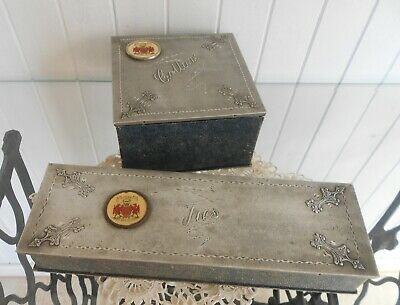 Vintage Collars & Ties Boxes with Embossed Metal Lids & Appleby Crests C1940s