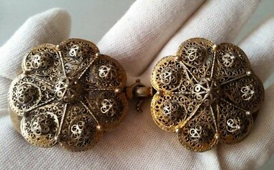 SUPERB ANTIQUE OTTOMAN GOLD PLATED hand-knitted SILVER filigree belt buckle XIXc