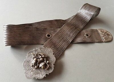 MAGNIFICENT & delightful ANTIQUE ORIGINAL OTTOMAN SILVER hand knitted BELT RARE