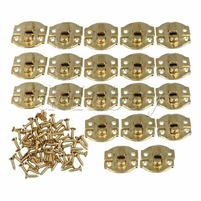 20pcs Yellow Metal Padlock Hasp Jewelry Box Buckle Shackle Lock 21 x 20mm