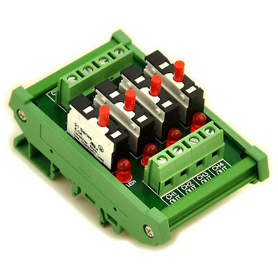 DIN Rail Mount Independent 4 Channels Thermal Circuit Breaker Module.