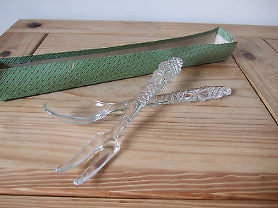 ART DECO 1920s Crystal Glass Salad servers Set of Fork and Spoon, clear glass