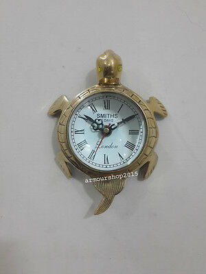 Collectible Tortoise Style Table Top Desk Chrome Clock  Watch  a Christmas Gift