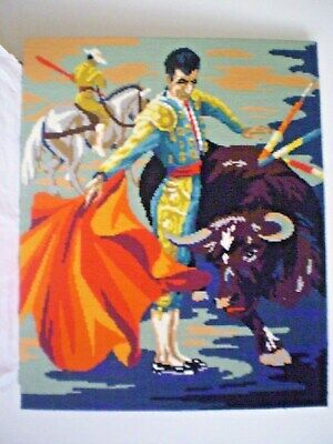 "Tapestry ""toro"" Bull Fighter Cross Stitch /needle Point Vibrant Colours Retro"