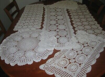 6 Large Vintage Crocheted Lace Table Runners/doilies~Cotton~White & Cream