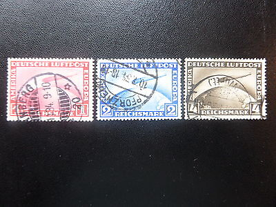 1928-31, German, Air,Flight Of Graf Zeppelin, Complete Set Of 3, Used,Vf, Pm..