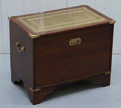 Vintage Record Storage Chest Coffee Table Box Green Leather Military Campaign