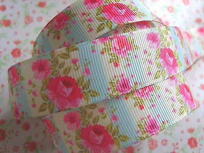 1 M x Shabby Chic Rose Grosgrain Ribbon Craft Party Cake Hair Bow Gift Wrap 22mm