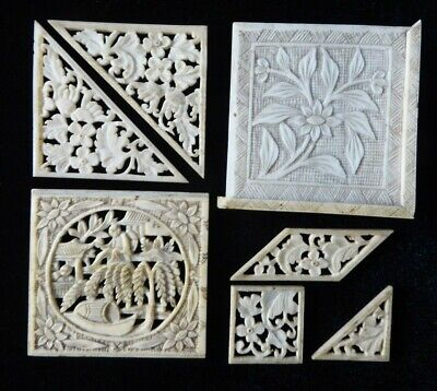 Antique hand carved Chinese pieces from sewing box / jewellery, inlay, repairs