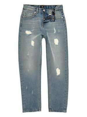 BNWT River Island Boys Mid Blue Loose Fit Bobby Ripped Jeans 8 Years
