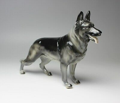 Silver Sable German Shepherd Black and Gray Porcelain Figurine 10in Long New