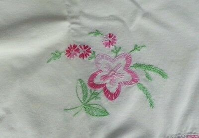 Vintage Single Pillowcase Embroidered & Crocheted Variegated Floral Pink Yellow