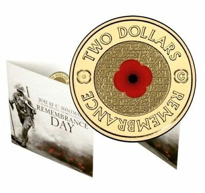 2012 UNC $2 Remembrance Day C Mintmark Red Poppy Coloured Coin in Folder
